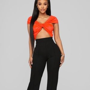 All Knotted Up Bodysuit - Neon Orange - Med - NWT